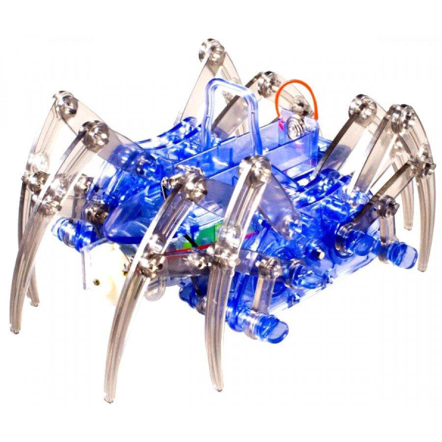Pająk-robot z mechanicznymi nogami w kolorze niebieskim