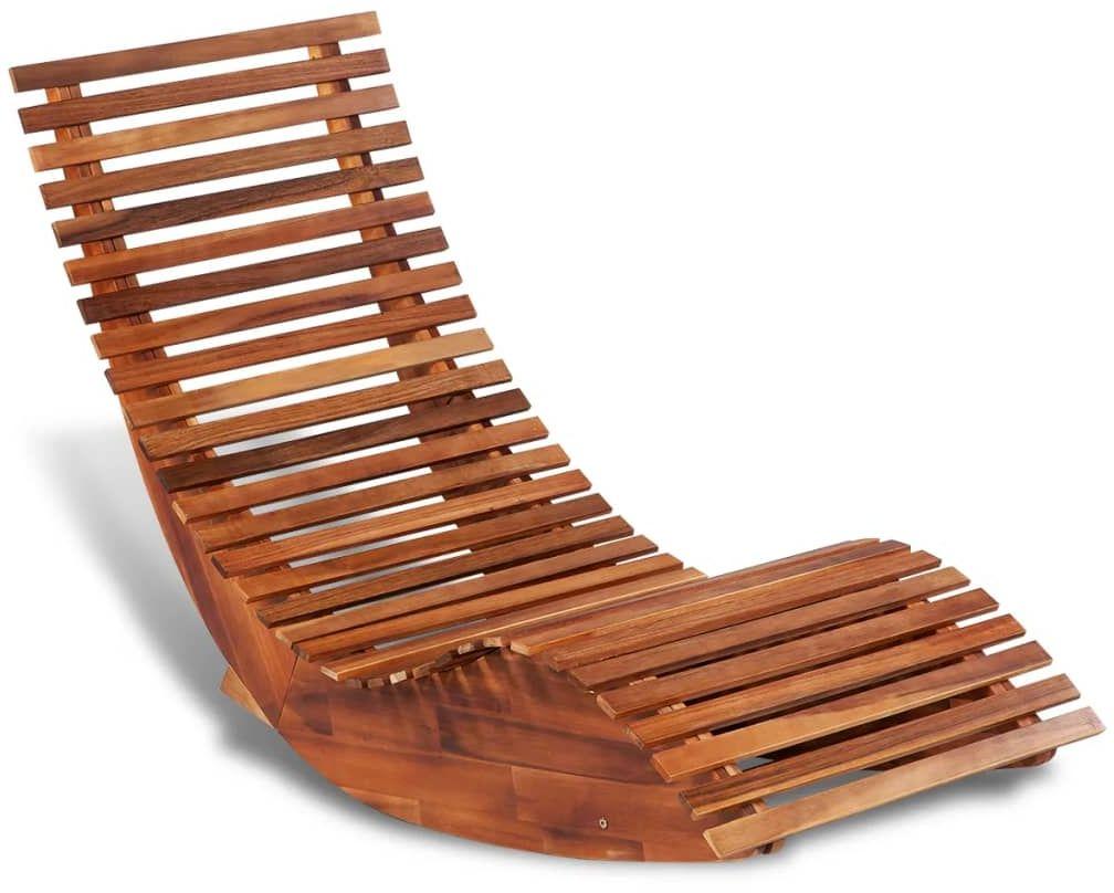 Leżak drewniany bujany