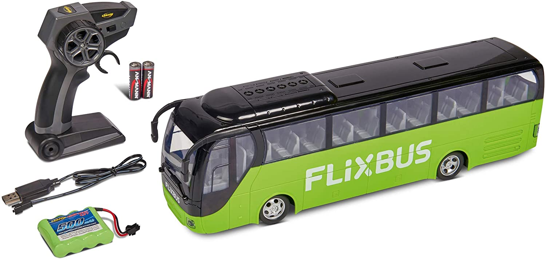 Zdalnie sterowany autobus rejsowy w barwach Flixbus, z pilotem i bateriami