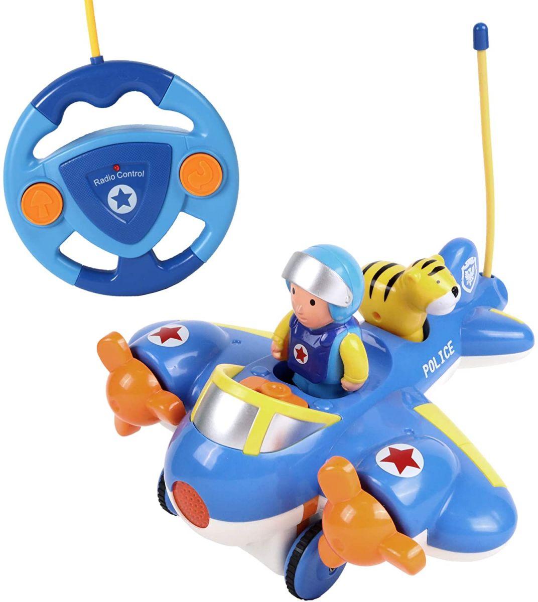 Samolot jeżdżący zdalnie sterowany z figurką pilota i tygrysa dla dzieci.