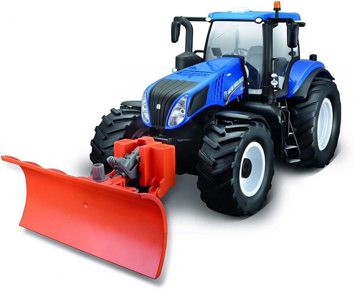 Traktor New Holland zdalnie sterowany ze spychaczem