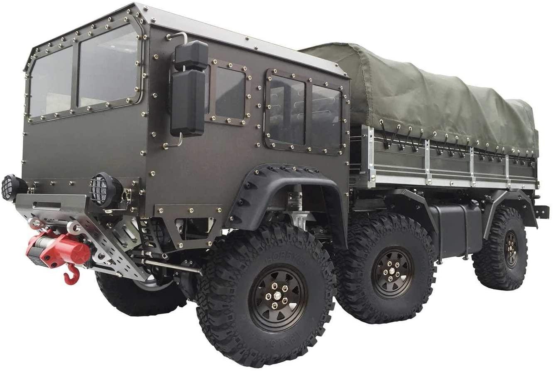 Profesjonalny model ciężarówki wojskowej trzyosiowej wykonanej z metalu, ze zdejmowalną plandeką
