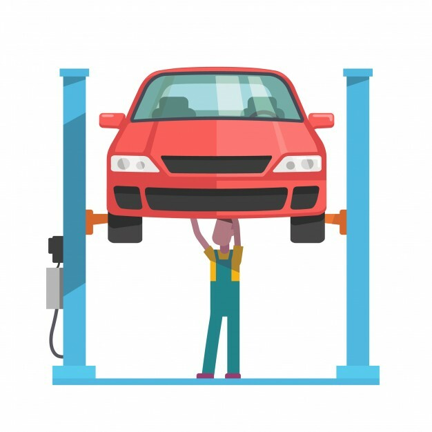mechanic repairing car lifted auto hoist_3446 268