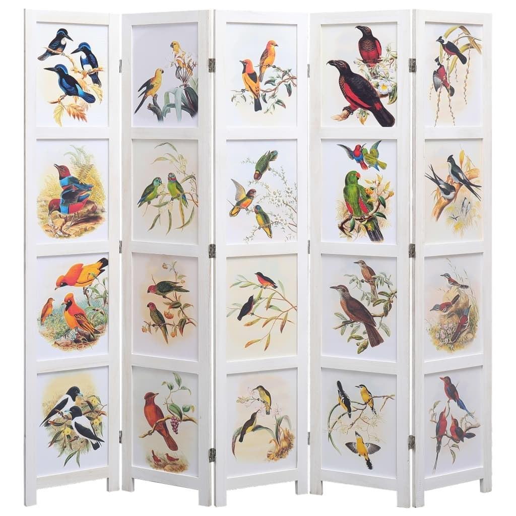 Chiński parawan z malowanymi ptakami