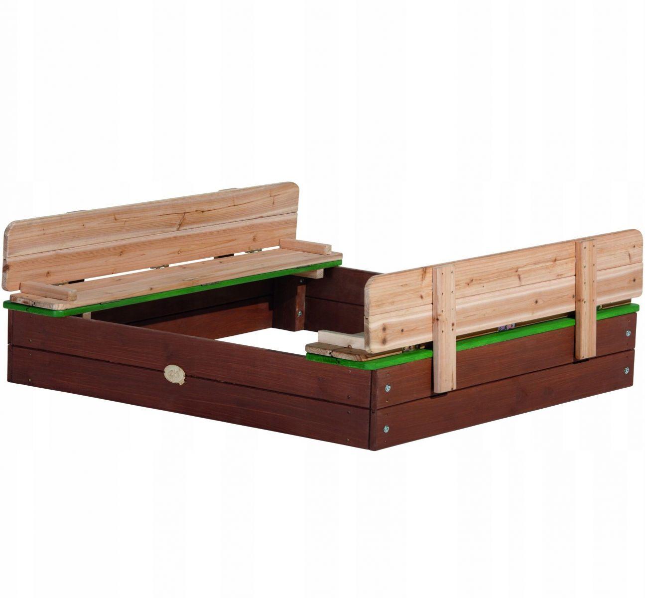 Piaskownica zamykana drewniana z ławeczkami