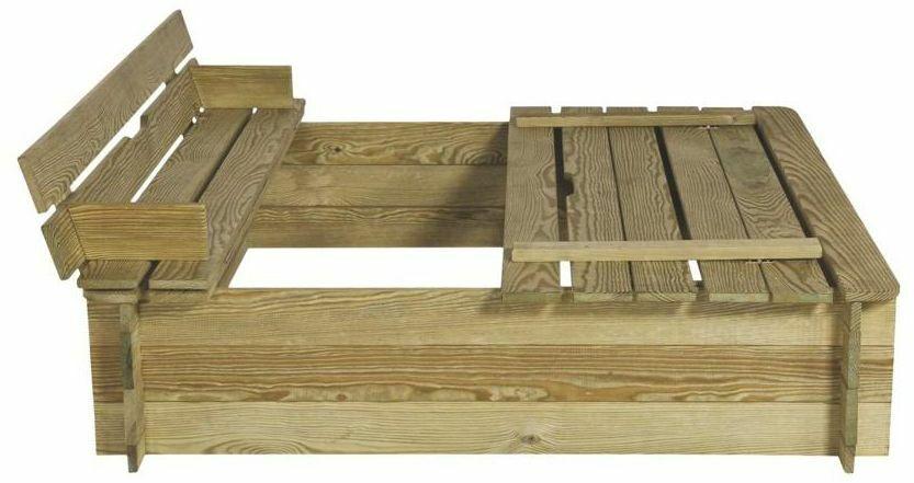 piaskownica drewniana 120 x 120 x 29 cm z pokrywa i laweczkami