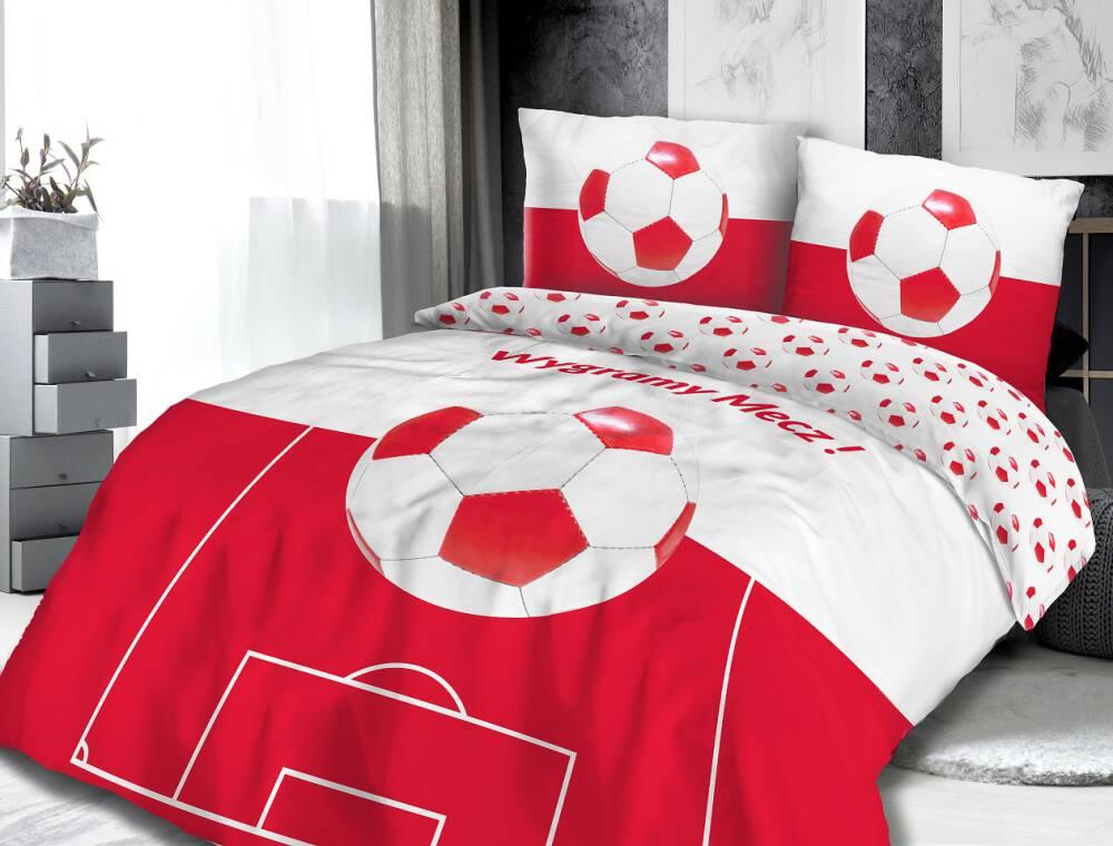 Pościel biało czerwona z piłką nożną i napisem Wygramy Mecz