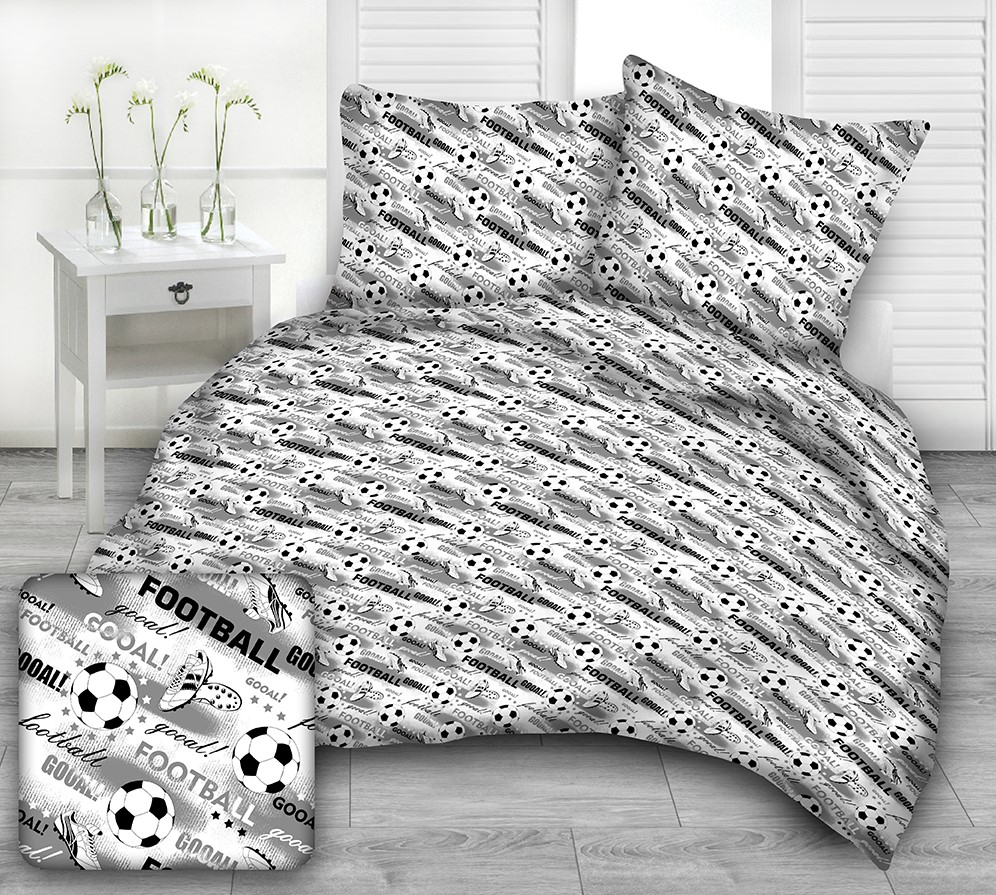 Pościel bawełaniana z motywem piłki nożnej w kolorach białym i czarnym