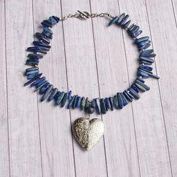 Sekretnik z sercem niebieskie kamienie