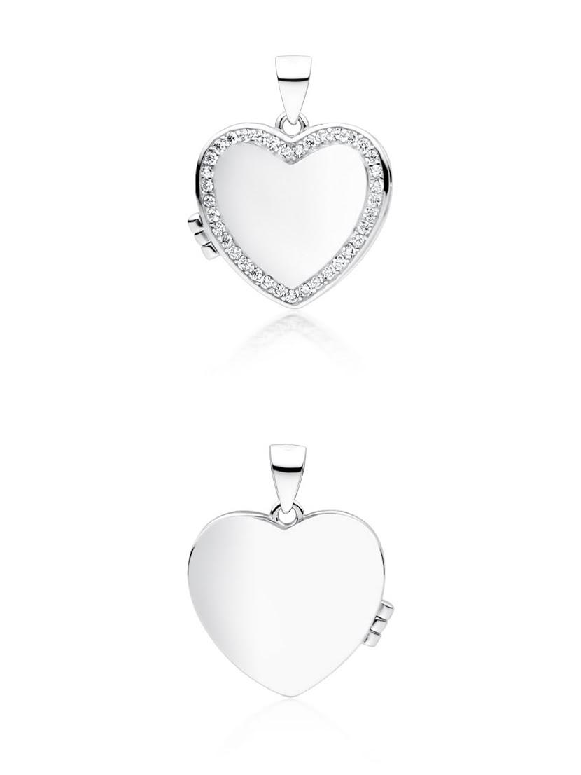 Naszyjnik srebrny serce próba 925