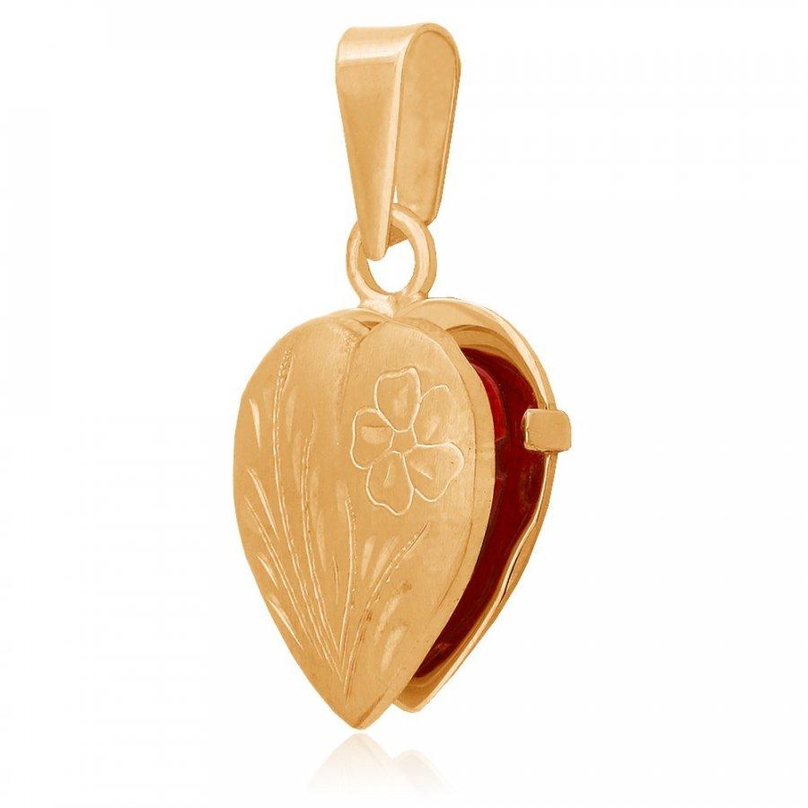 Naszyjnik złoty sekretnik serce z kwiatem