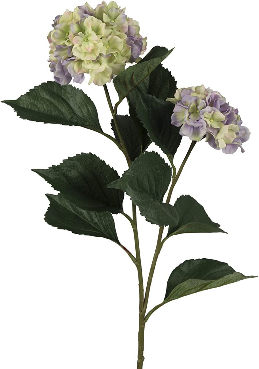 Pojedyncza gałązka sztucznej hortensji z okazałymi liśćmi