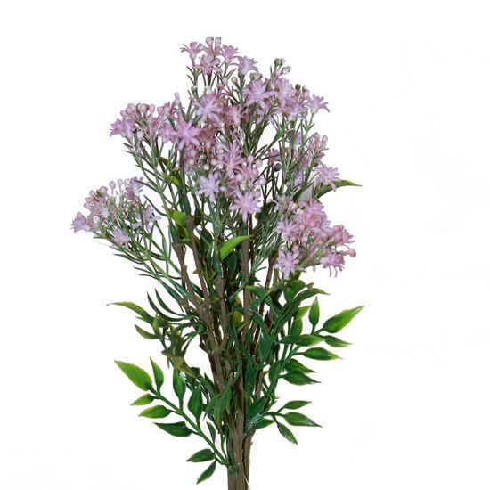 Bukiet drobnych zielonych liści i różowych kwiatów wniesie dużo świeżości do wnętrza