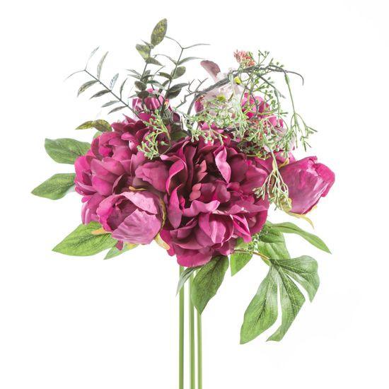 Sztuczne piwonie wraz z delikatnymi ogrodowymi kwiatuszkami stworzą niepowtarzalny klimat w salonie