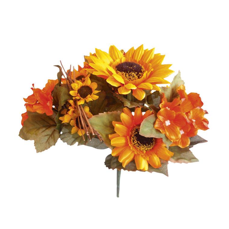 Bukiet sztucznych hortensji oraz letnich kwiatów słonecznika idealnie wkomponuje się do każdego pokoju