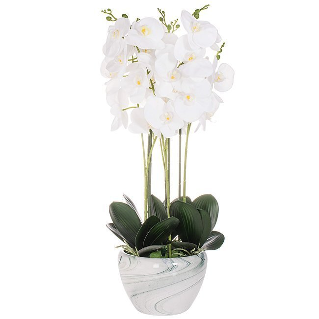 Sztuczny storczyk w doniczce z kwiatami koloru białego