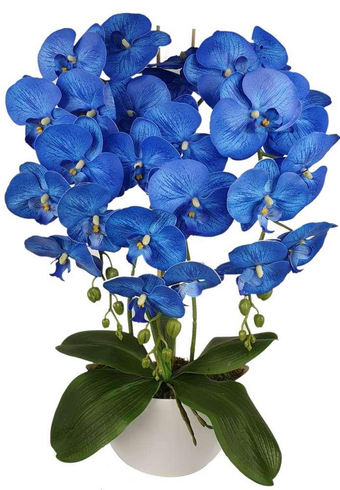 Sztuczny storczyk z kwiatami koloru niebieskiego w doniczce
