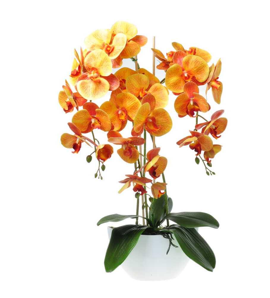 Storczyk sztuczny z kwiatami w kolorze pomarańczowym