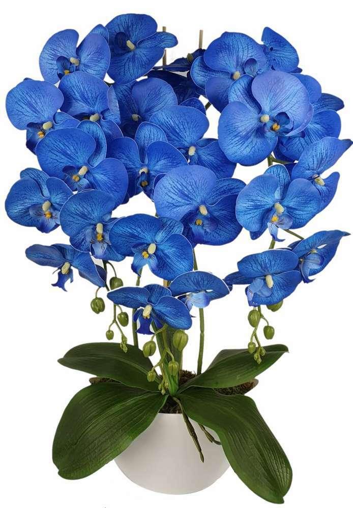 sztuczne storczyki w doniczce niebieski