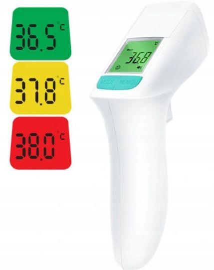 Termometr bezdotykowy z zaprezentowanymi ekranami ze zmienionym kolorem zależnym od uzyskanej temperatury