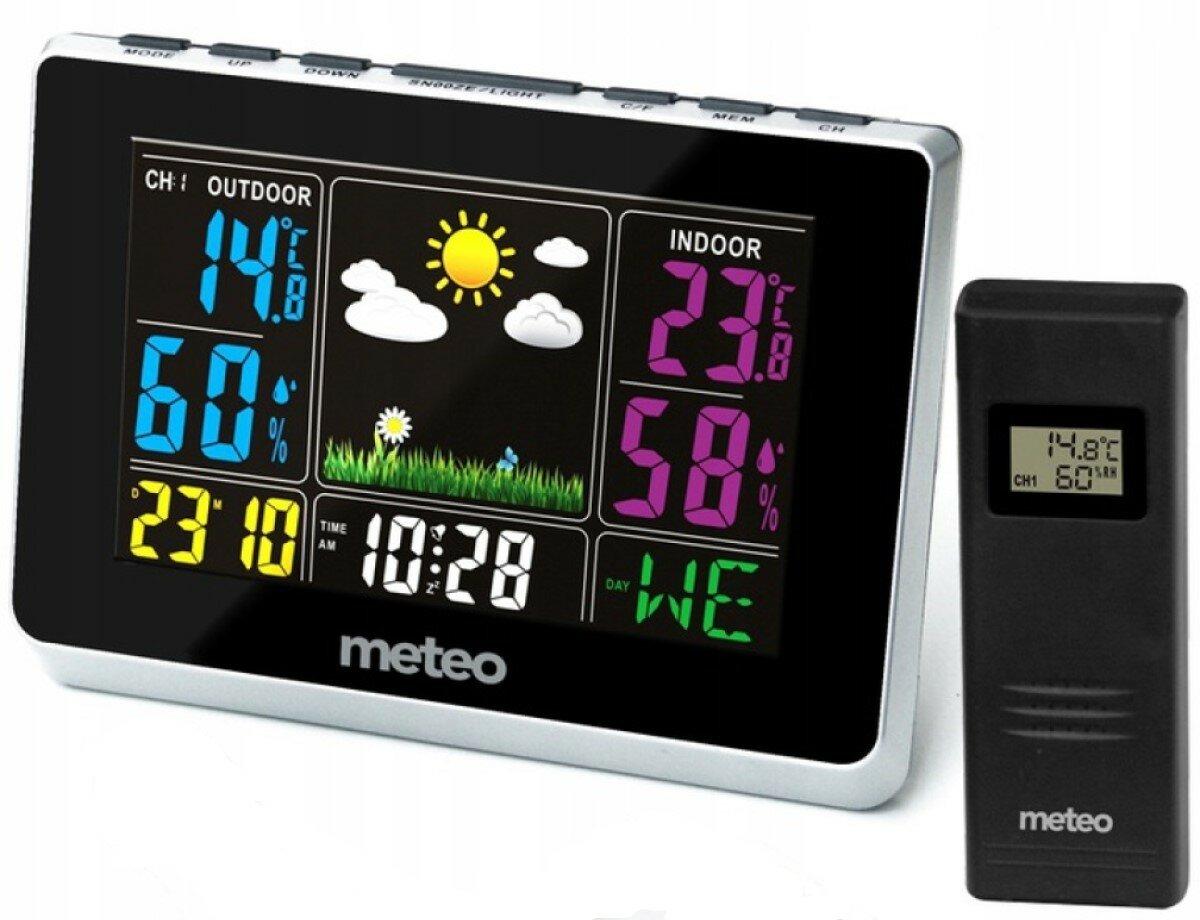 Stacja pogodowa z kolorowym wyświetlaczem pokazującym aktualną godzinę, temperaturę oraz wilgotność wewnątrz oraz na zewnątrz, a także kalendarz