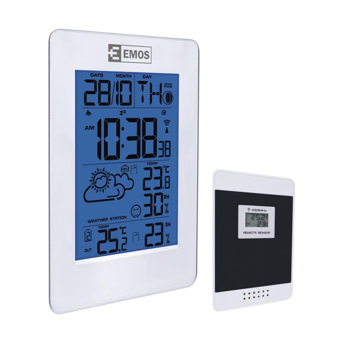 Stacja pogodowa z bezprzewodowym czujnikiem pokazujący temperatury oraz wilgotność wewnątrz i zewnątrz, a także godzinę