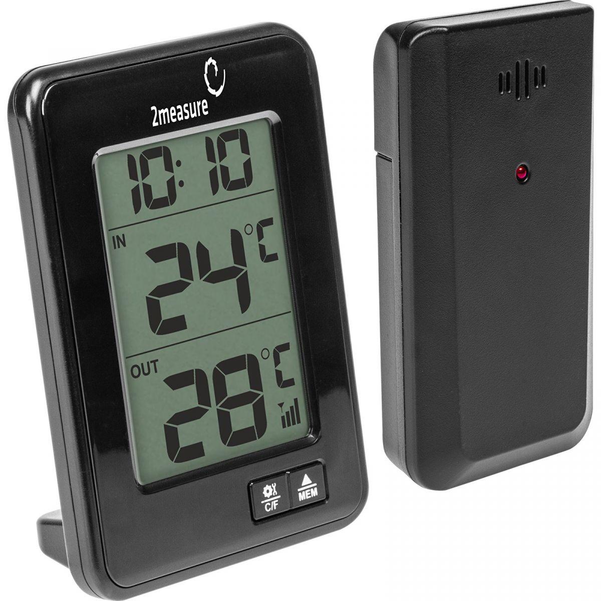 Termometr z czujnikiem bezprzewodowym wskazujący temperaturę na zewnątrz, wewnątrz oraz aktualną godzinę