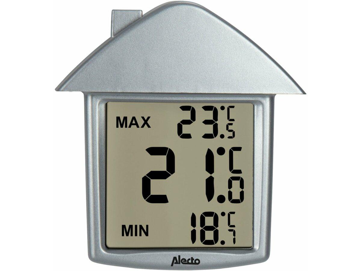 Termometr cyfrowy przyklejany do szyby w kształcie domku, wskazujący również temperaturę maksymalną i minimalna