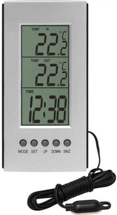 Termometr z czujnikiem przewodowym pokazujący temperaturę na zewnątrz, wewnątrz oraz aktualną godzinę