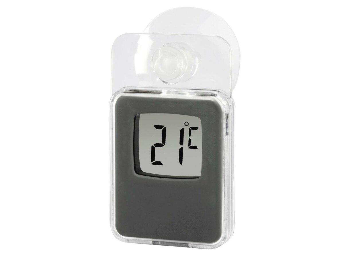 Prosty termometr elektroniczny przyklejany do szyby za pomocą przyssawki