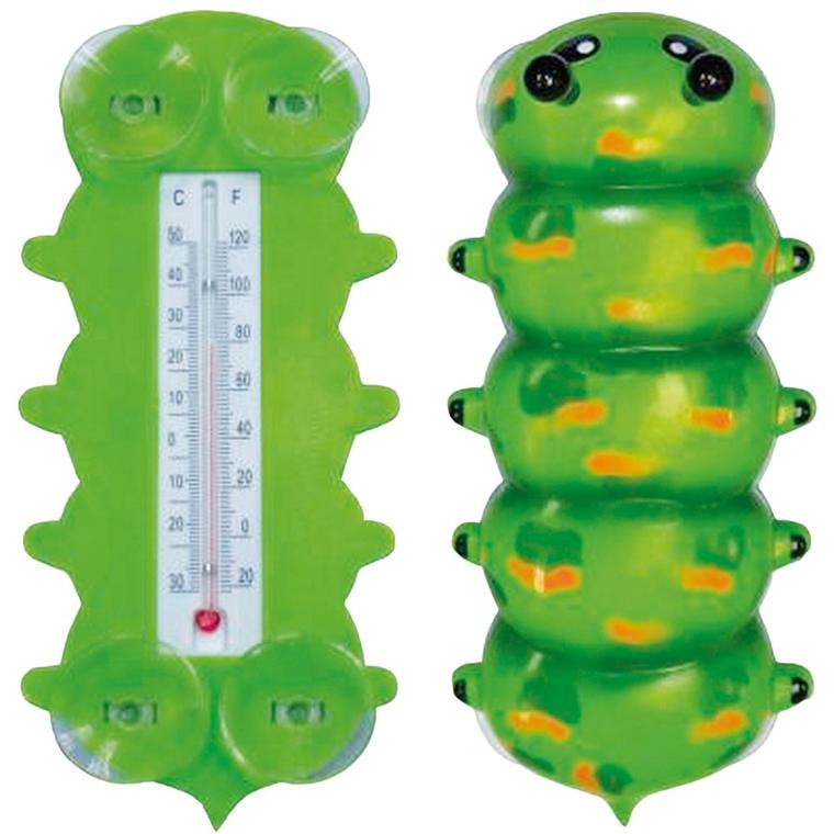 Tradycyjny termometr zewnętrzny cieczowy w kształcie zabawnej gąsienicy