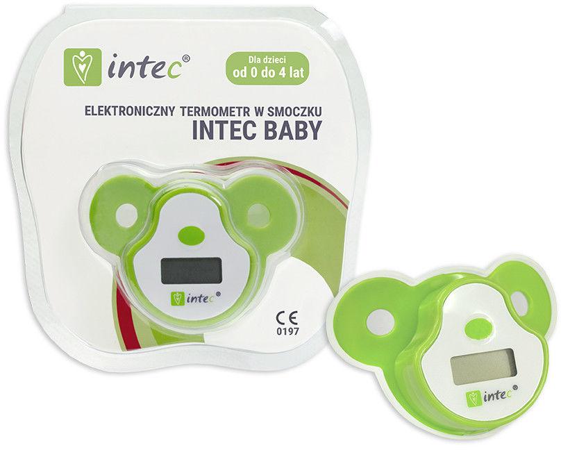 Termometr w smoczku dla niemowląt w kolorze zielono-białym w opakowaniu oraz bez niego